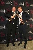 BEVERLY HILLS - JUN 16: Billy Miller (L) and Scott Clifton with the Outstanding Supporting Actor in