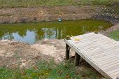 image of dock a pond  - Wooden dock - JPG