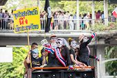 BANGKOK,THAILAND- JUNE 30 : Unidentified protesters, V for Thailand group, wear Guy Fawkes masks to