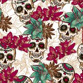 Skull, Hearts and Flowers Seamless Background