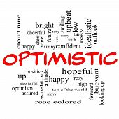 picture of idealistic  - Optimistic Word Cloud Concept in red caps with great terms such as hopeful upbeat happy and more - JPG
