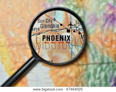 Phoenix magnified on a map poster