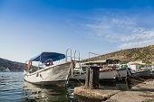 image of ski boat  - Pleasure boat moored in the bay of Balaklava - JPG