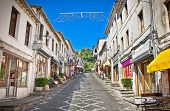picture of albania  - Main street  of historic town Gjirokasteron  in Gjirokaster - JPG