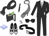 stock photo of coat tie  - Illustration Featuring Typical Male Clothing and Accessories - JPG