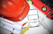 stock photo of calipers  - Construction concept - JPG