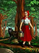 pic of little red riding hood  - Red riding hood going through the wood - JPG