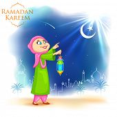 image of eid ka chand mubarak  - illustration of people looking at moon for Eid celebration - JPG