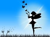 ������, ������: Butterflies Blue Means Fairy Tale And Sun