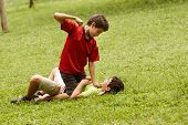 picture of crying boy  - Two young brothers fighting and hitting on grass in park with older boy sitting over the younger