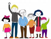stock photo of extended family  - Vector illustration of a cute big family - JPG