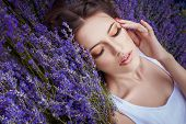 pic of lavender field  - romantic portrait of beautiful woman on the lavender field - JPG