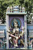 foto of durga  - Monument of Goddess Durga on the entrance of a Hindu temple wall