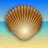 image of beach shell art  - Vector abstract gold shell illustration on the summer sea beach - JPG