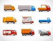foto of ice-cream truck  - Realistic truck lorry transport van auto set isolated vector illustration - JPG