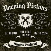 pic of biker  - Motorcycle grunge burning pistons biker festival design poster vector illustration - JPG
