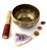 image of gem  - Tibetian singing bowl and some gem stones isolated on white - JPG