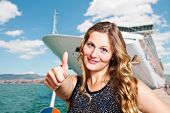 pic of cruise ship caribbean  - beautiful woman in front of cruise ship - JPG