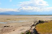picture of arctic landscape  - Summer arctic landscape with lake and mountains - JPG