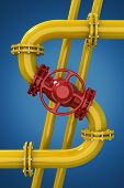 picture of stopcock  - Dollar sign from gas pipeline on blue background - JPG