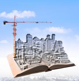 pic of land development  - sketching of building construction on flying book over urban scene use for civil engineering and land development topic - JPG
