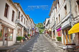 image of albania  - Main street  of historic town Gjirokasteron  in Gjirokaster - JPG