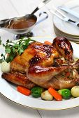foto of turkey dinner  - homemade roast turkey - JPG