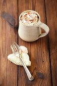 stock photo of grating  - grated chocolate with hot chocolat vintage mug - JPG