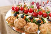 picture of buffet  - Tray with canape appetizer at the buffet