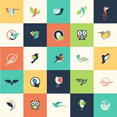 stock photo of hummingbirds  - Set of flat design bird icons for websites - JPG
