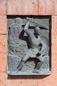 pic of armenia  - relief picture on building near Etchmiadzin monastery - JPG