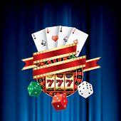 stock photo of poker machine  - vector gambling casino elements on blue velvet - JPG