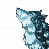 pic of wolf moon  - Stylized cartoon gray wolf head howling wolf - JPG