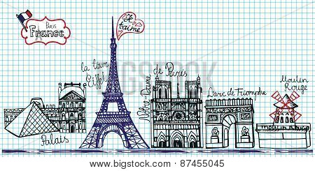 Set of Paris landmark panoramaDoodle