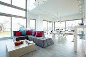 stock photo of lounge room  - Spacious luxury living room in big residence - JPG