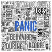 picture of panic  - Close up Blue PANIC Text at the Center of Word Tag Cloud on White Background - JPG