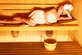 stock photo of sauna woman  - Spa beauty well being and resort concept - JPG