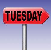 picture of tuesday  - tuesday week next or following day schedule concept for appointment or event in agenda  - JPG