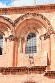 image of golgotha  - Immovable Ladder on the Church of the Holy Sepulchre in Old City of Jerusalem - JPG
