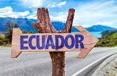 stock photo of guayaquil  - Ecuador wooden sign with road background - JPG