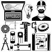 foto of mechanical engineering  - silhouette mechanical tools and engineering elements icons in white background - JPG