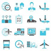 stock photo of logistics  - set of 16 logistics and shipping icons - JPG