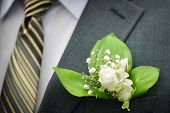 stock photo of boutonniere  - Boutonniere groom closeup wedding shoot on the fabric  background - JPG
