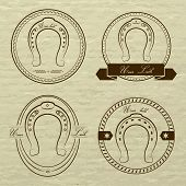 picture of horseshoe  - Horseshoe logos in different styles - JPG