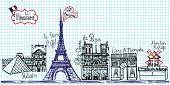 stock photo of moulin rouge  - Paris Night landmark  panorama set - JPG