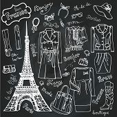 Постер, плакат: Paris Fashion Clothing set Doodle Sketch Chalkboard outline