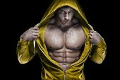 foto of abs  - Strong Athletic Man Fitness Model Torso showing six pack abs - JPG