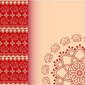 picture of indian elephant  - Traditional red and cream Indian henna elephant mandala design vertical invitation with space for text - JPG