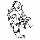stock photo of tora  - jewish boy dancing with Torah - JPG