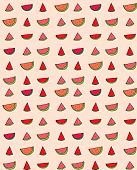 stock photo of watermelon slices  - Vector seamless pattern of slices of watermelon - JPG
